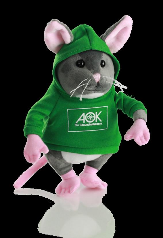 Plüsch Maus AOK mit Hoodie vorne