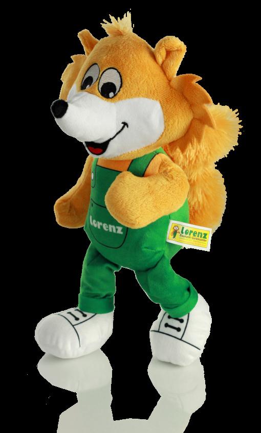 Plüsch Fuchs laufend mit grüner Latzhose