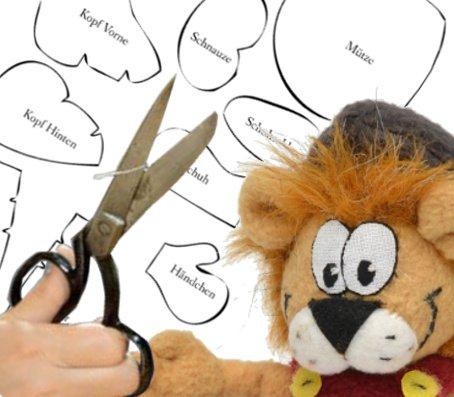 Plüsch Löwe mit Schnittmuster und Schere