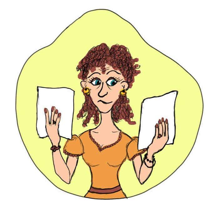 Vergleichsangebot Zeichnung Frau hält in jeder Hand ein Blatt hoch