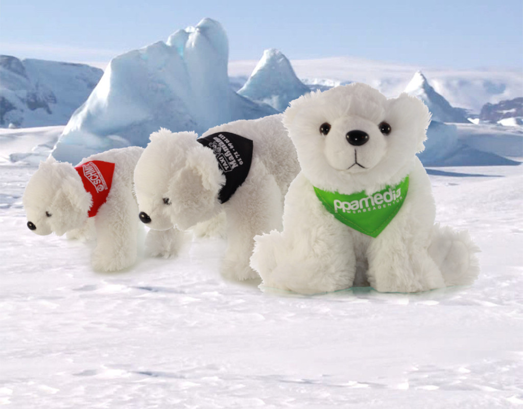 Branding - Eisbären mit bedrucktem Halstuch im Schnee