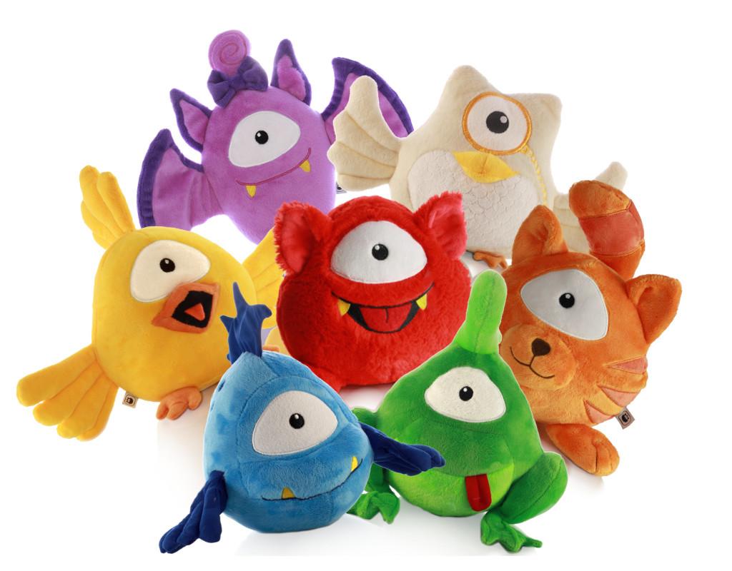 Serie Monsterfreunde sieben bunte Plüschmonster