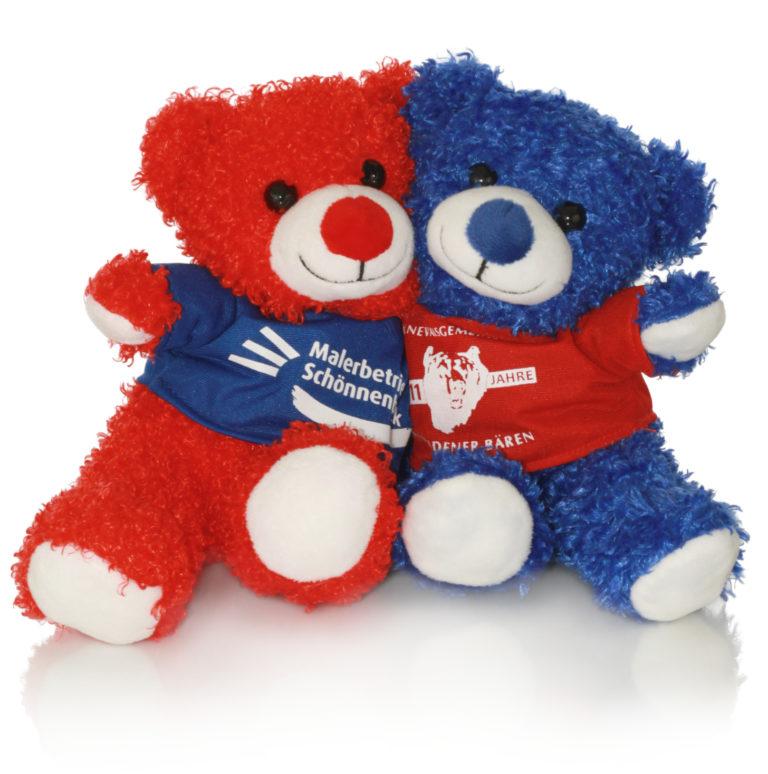 Branding roter und blauer Teddy kuscheln
