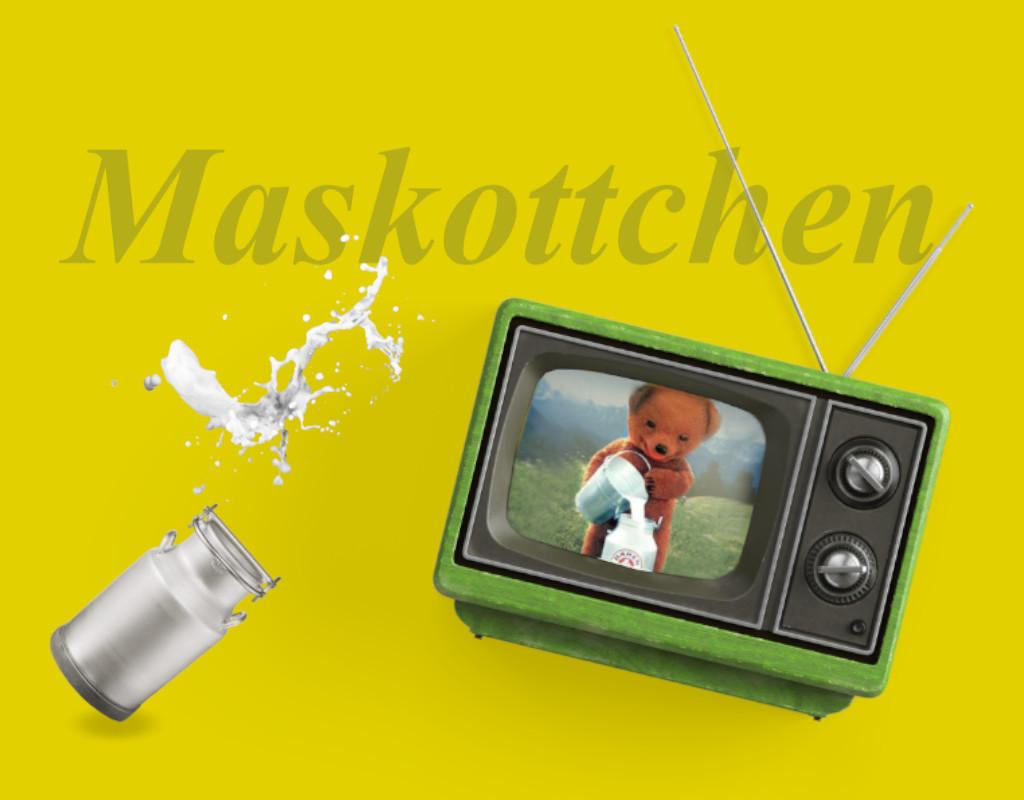 Maskottchen Bärenmarke im TV Milchkane und Milchklecks